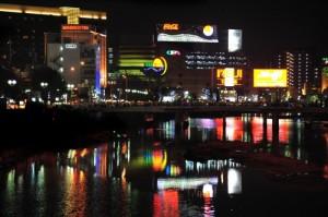 中洲夜景(提供:福岡市)
